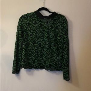 Green and black kind sleeve blouse